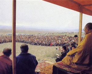 Лекция Далай-ламы XIV на центральной площади г. Кызыла, 20 сентября 1992