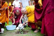 Его Святейшество сажает росток дерева бодхи в монастыре Дагпо Шедрублинг в Каисе, неподалеку от Манали, 17 августа 2010.