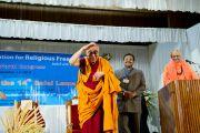 Его Святейшество приветствует аудиторию 33-го Всемирного Конгресса Международной Ассоциации за свободу вероисповедания в Catholic Renewal Center в Кочи, штат Керала, 4 сентября 2010