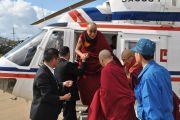Далай-лама прилетел в Ниихмау на вертолете, 9 ноября 2010 г.