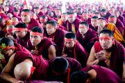 Тибетские монахи слушают учения Его Святейшества Далай-ламы в Сарнатхе, Индия, 15 января 2011. Фото: Тензин Чойджор (Офис ЕСДЛ)