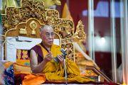Его Святейшество Далай-лама дал учения в монастыре Дрепунг Лачи в Мандгоде. Индия, 1 февраля 2011. Фото: Тензин Чойджор (Офис ЕСДЛ)