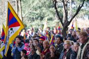 Его Святейшество Далай-лама выступает с обращением по случаю 52-й годовщины Тибетского народного восстания. Дхарамсала, Индия. 10 марта 2011