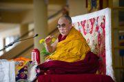 Его Святейшество Далай-лама во время учений по Джатакам в Дхарамсале, Индия. 19 марта 2011. Фото: Тензин Чойджор (Офис ЕСДЛ)