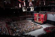 Стадион Bud Walton Arena в университете Арканзаса - место проведения мероприятий с участием Далай-ламы. Файеттвиль, штат Арканзас. 11 мая 2011