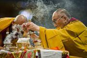Его Святейшество Далай-лама во время предварительного посвящения Калачакры. Вашингтон, США. 13 июля 2011. Фото: Тензин Чойджор (Офис ЕСДЛ)