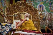 Его Святейшество Далай-лама во время предварительного посвящения Калачакры. Вашингтон, США. 14 июля 2011. Фото: Тензин Чойджор (Офис ЕСДЛ)