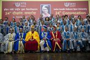 Его Святейшество Далай-лама и преподаватели Национального открытого университета имени Индиры Ганди. Дели, Индия. 5 сентября 2011. Фото: Тензин Чойджор (Офис ЕСДЛ)