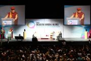 """Его Святейшество Далай-лама выступает на третьей международной конференции """"Человеческие ценности и правовое государство"""". Монтеррей, Мексика. 9 сентября 2011. Фото: Rolando Zenteno"""