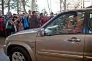 Его Святешество Далай-лама прощается с участниками Учений для буддистов России.  Фото: Тензин Чойджор, Офис ЕСДЛ