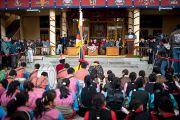 Лобсанг Сенге, глава Центральной тибетской администрации,выступает с заявлением на торжественной церемонии, посвященной 53-й годовщине Тибетского народного восстания. Дхарамсала, Индия. 10 марта 2012 г. Фото: Тензин Чойджор (Офис ЕСДЛ)