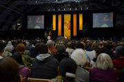 """Стадион Нельсон-Арена в Миддлберийском колледже, где состоялась лекция Его Святейшества Далай-ламы Поиск общей платформы: этика для всего мира"""" Миддлбери, штат Вермонт, США. 13 октября 2012 г. Фото: Brett Simison"""