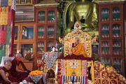 Его Святейшество Далай-лама в тибетском монастыре в Сарнатхе, Индия. 11 января 2013 г. Фото: Джереми Рассел (Офис ЕСДЛ)