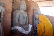 Его Святейшество Далай-лама возлагает хадак к каменному изваянию Будды Шакьямуни, найденной во время археологических раскопок на месте буддийского храма в Сирпуре, штат Чаттисгарх, Индия. 7 марта 2013 г. Фото: Тензин Такла (офис ЕСДЛ)