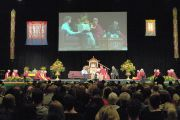 "Его Святейшество Далай-лама во время лекции на стадионе  ""CBS Canterbury"". Крайстчерч, Новая Зеландия. 9 июня 2013 г. Фото: Jacqui Walker"