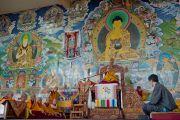 Его Святейшество Далай-лама дарует учения в монастыре Сера Чже. Билакуппе, Карнатака, Индия. 6 июля 2013 г. Фото: Тензин Чойджор (офис ЕСДЛ)