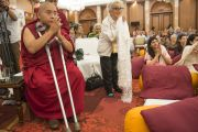 Линг Ринпоче на учениях Его Святейшества Далай-ламы. Дели, Индия. 23 марта 2014 г. Фото: Тензин Чойджор (офис ЕСДЛ)