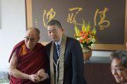 Его Святейшество Далай-ламу встречают в школе для мальчиков «Сейфу Гакуен». Осака, Япония. 9 апреля 2014 г. Фото: Джереми Рассел (офис ЕСДЛ)