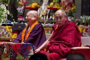 Досточтимый Юкеи Мацунага и Его Святейшество Далай-лама. Коясан, Япония. 15 апреля 2014 г. Фото: Тибетский офис в Японии