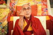 Его Святейшество Далай-лама на встрече в Тибетском доме. Франкфурт, Германия. 13 мая 2014 г. Фото: Manuel Bauer