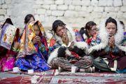 """Во время торжественного открытия семинара по теме """"Парчин (совершенная мудрость) в монастыре Ликир. Ладак, штат Джамму и Кашмир, Индия. 30 июня 2014 г. Фото: Тензин Чойджор (офис ЕСДЛ)"""