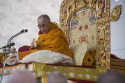 Его Святейшество Далай-лама дарует учения в монастыре Ликир. Ладак, штат Джамму и Кашмир, Индия. 1 июля 2014 г. Фото: Тензин Чойджор (офис ЕСДЛ)