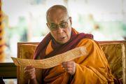 Его Святейшество Далай-лама проводит ритуалы подготовки и освящения пространства для проведения посвящения Калачакры. Лех, Ладак, штат Джамму и Кашмир, Индия. 4 июля 2014 г. Фото: Мануэль Бауэр.