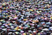 Море зонтов, под которыми прячутся от солнца участники 33-го посвящения Калачакры. Лех, Ладак, штат Джамму и Кашмир, Индия. 10 июля 2014 г. Фото: Мануэль Бауэр.