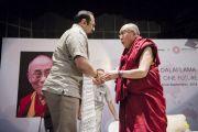 Его Святейшество Далай-лама и член индийского парламента Раджив Чандрасекшар. Дели, Индия. 22 сентября 2014 г. Фото: Тензин Чойджор (офис ЕСДЛ)