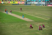 Матч по крикету между сборными командами Индии и Вест-Индии на стадионе Ассоциации крикета штата Химачал-Прадеш на матч между сборными Индии и Вест-Индии. Дхарамсала, Индия. 17 октября 2014 г. Фото: Тензин Чойджор (офис ЕСДЛ)
