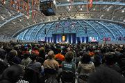 """Вро время лекции Его Святейшества Далай-ламы """"Развитие сердца"""" в Принстонском университете. 28 октября 2014 г. Нью-Джерси, США. Фото: Denise Applewhite"""