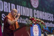 Его Святейшество Далай-лама выступает на открытии 1-го Всемирного индуистского конгресса. Дели, Индия. 21 ноября 2014 г. Фото: Тензин Чойджор (офис ЕСДЛ)