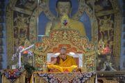 Третий день учений Его Святейшества Далай-ламы по 18 коренным текстам и комментариям традиции Ламрим в монастыре Ганден Джангце. Мундгод, Индия. 25 декабря 2014 г. Фото: Тензин Чойджор (офис ЕСДЛ)