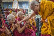 Его Святейшество Далай-лама здоровается с пожилым монахом по окончании третьего дня учений в монастыре Ганден Джангце. Мундгод, Индия. 25 декабря 2014 г. Фото: Тензин Чойджор (офис ЕСДЛ)