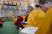 Вид на зал монастыря Ганден Джангце, где проходят учения Его Святейшества Далай-ламы. Мундгод, Индия. 26 декабря 2014 г. Фото: Тензин Чойджор (офис ЕСДЛ)