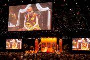 """Вид на сцену в зале конференц-центра """"Белла"""" во время учений Его Святейшества Далай-ламы. Копенгаген, Дания. 12 февраля 2015 г. Фото: Оливье Адам."""