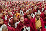 Монахи и монахини с хадаками встречают Его Святейшество Далай-ламу в монастыре Палпунг Шераблинг. Верхний Бхатту, штат Химачал-Прадеш, Индия. 11 марта 2015 г. Фото: Тензин Чойджор (офис ЕСДЛ)