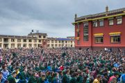 Более 9 тысяч человек собрались послушать Его Святейшество Далай-ламу в институте Лунгрик Джампеллинг в монастыре Палпунг Шераблинг. Верхний Бхатту, штат Химачал-Прадеш, Индия. 12 марта 2015 г. Фото: Тензин Чойджор (офис ЕСДЛ)