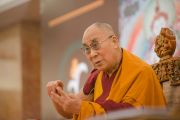 Его Святейшество Далай-лама в первый день ежегодных трехдневных учений, организованных Фондом всеобщей ответственности. Дели, Индия. 20 марта 2015 г. Фото: Тензин Чойджор (офис ЕСДЛ)