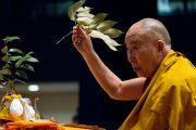 Его Святейшество Далай-лама проводит подготовительные ритуалы перед посвящением Авалокитешвары в университете Шова Джоси. Токио, Япония. 13 апреля 2015 г. Фото: Тензин Джигме
