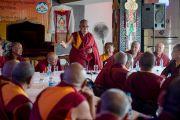 Его Святейшество Далай-лама выступает на 12-й конференции представителей четырех школ тибетского буддизма и традиции бон. Дхарамсала, Индия. 20 июня 2015 г. Фото: Тензин Чойджор (офис ЕСДЛ)