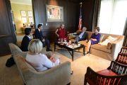 Встреча президента Джорджа Буша-младшего с Его Святейшеством Далай-ламой в президентском центре в Далласе. Штат Техас, США. 1 июля 2015 г. Фото: Центр Буша