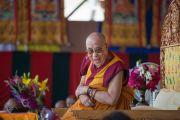 Его Святейшество Далай-ламы во время лекции в школе Джамьянг. Ле, Ладак, штат Джамму и Кашмир, Индия. 28 июля 2015 г. Фото: Тензин Чойджор (офис ЕСДЛ)