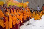 Тибетские монахи исполняют традиционные песнопения в Каршни-ашраме. Тримбакешвар, штат Махараштра, Индия. 31 августа 2015 г. Фото: Тензин Чойджор (Офис ЕСДЛ)