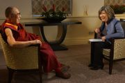 Его Святейшество Далай-лама и корреспондент Си-Эн-Эн Кристин Аманпур. Лондон, Великобритания. 21 сентября 2015 г. Фото: Джереми Рассел (офис ЕСДЛ)