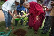 Его Святейшество Далай-лама высаживает деревце в память о своем посещении Национального института передовых исследований. Бангалор, Индия. 6 декабря 2015 г. Фото: Тензин Чойджор (офис ЕСДЛ)