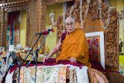 Его Святейшество Далай-лама выступает на торжественной церемонии открытия Гаден Тритхонг Кханга. Мундгод, Индия. 8 декабря 2015 г. Фото: Тензин Чойджор (офис ЕСДЛ)