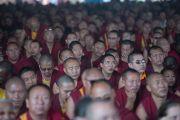 Некоторые из 22 тысяч монахов, собравшихся в монастыре Ташилунпо на третьи учения Его Святейшества Далай-ламы по 18 коренным текстам и комментариями традиции Ламрим. Билакуппе, штат Карнатака, Индия. 21 декабря 2015 г. Фото: Тензин Чойджор (офис ЕСДЛ)