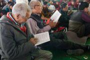 Пожилые тибетцы на учениях Его Святейшества Далай-ламы по 18 коренным текстам и комментариям традиции Ламрим в монастыре Ташилунпо. Билакуппе, штат Карнатака, Индия. 25 декабря 2015 г. Фото: Тензин Чойджор (офис ЕСДЛ)