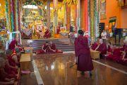 Его Святейшество Далай-лама наблюдает за философским диспутом молодых монахов в монастыре Ташилунпо накануне своего отъезда. Билакуппе, штат Карнатака, Индия. 1 января 2016 г. Фото: Тензин Чойджор (офис ЕСДЛ)
